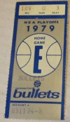 1979 NBA Playoffs Spurs at Bullets Ticket Stub