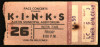 1980 The Kinks Austin ticket stub