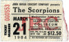1984 Scorpions Seattle ticket stub