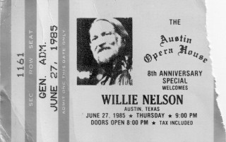 1985 Willie Nelson Austin Opera House ticket stub