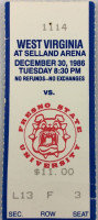 1986 NCAAMB West Virginia at Fresno State ticket stub