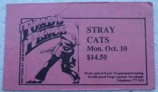 1988 Stray Cats New Haven Toad's ticket stub