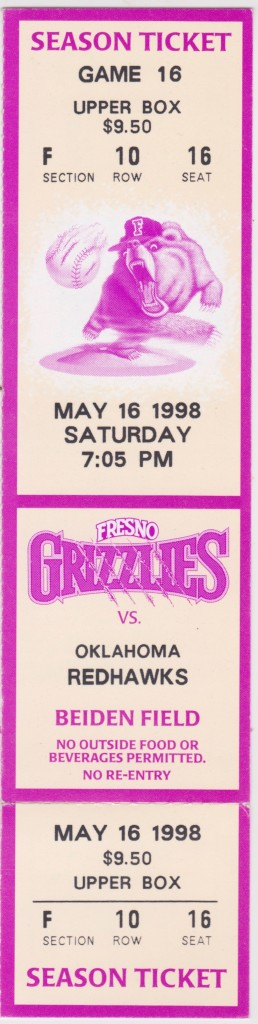 1998 Fresno Grizzlies ticket stub vs Oklahoma City