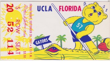 1957 NCAAF Florida at UCLA ticket stub
