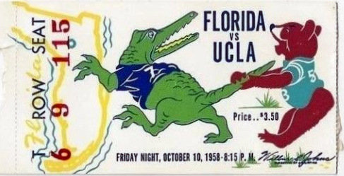 1958 NCAAF Florida at UCLA ticket stub