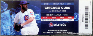 2016 MLB Reds at Cubs Opening Day ticket stub