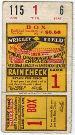 1929 World Series Game 1 Ticket Stub Athletics vs Cubs
