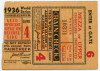 1936 World Series Game 4 Ticket Stub Giants vs Yankees