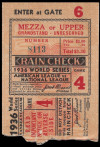 1936 World Series Game 4 Ticket Stub Giants at Yankees