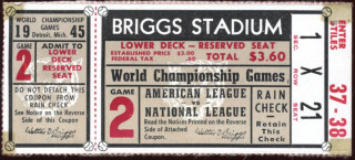 1945 World Series Game 2 Ticket Stub Cubs vs Tigers
