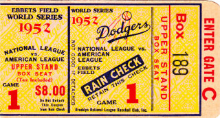 1952 World Series Game 1 Ticket Stub Yankees at Dodgers