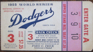 1955 World Series Game 3 Yankees at Dodgers ticket stub 241