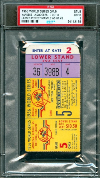 1956 World Series Game 5 ticket stub Don Larsen perfect game