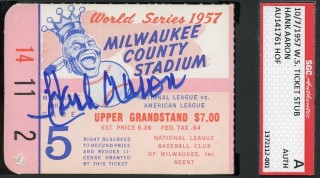1957 World Series Gm 5 Yankees at Braves Hank Aaron auto ticket stub