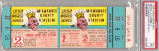 1958 World Series Game 2 Yankees at Braves full ticket 305