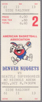 1975 ABA NBA Supersonics at Denver Nuggets ticket stub