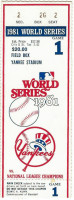 1981 World Series Game 1 ticket stub Dodgers at Yankees