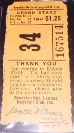 1955 MLB Pirates at Dodgers Sandy Koufax 2nd win ticket stub