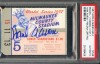1957 World Series Game 5 Yankees at Braves Hank Aaran Signed ticket stub