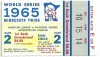 1965 World Series Game 2 ticket stub Dodgers at Twins