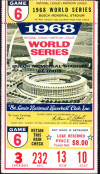 1968 World Series Game 6 ticket stub Tigers vs Cardinals