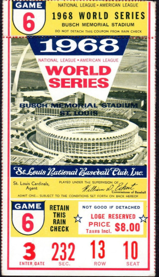 1968 World Series Game 6 Tigers At Cardinals ticket stub 57
