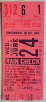 1970 MLB Braves at Reds Last game at Crosley Field ticket stub