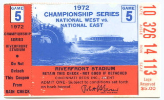 1972 NLCS Gm 5 Pirates at Reds ticket stub 250 Roberto Clemente final game
