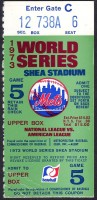 1973 World Series Game 5 ticket stub Athletics at Mets