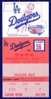 1974 Reds at Dodgers Johnny Bench HR ticket stub