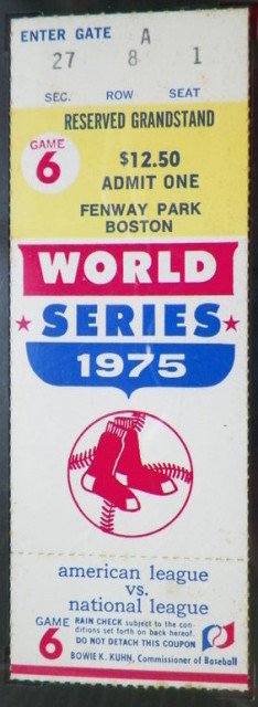 1975 World Series Game 6 Reds at Red Sox ticket stub 160