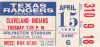 1980 MLB Indians at Rangers ticket stub