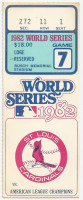 1982 World Series Game 7 ticket stub Brewers at Cardinals