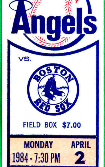 1984 MLB Red Sox at Angels Opening Day ticket stub
