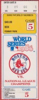 1986 World Series Game 5 ticket stub Mets at Red Sox