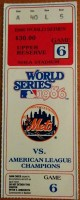 1986 World Series Game 6 ticket stub Red Sox at Mets Bill Buckner