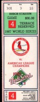 1987 World Series Game 4 Twins at Cardinals ticket stub