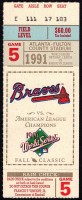 1991 World Series Game 5 ticket stub Twins at Braves