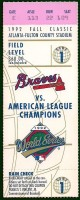 1992 World Series Game 1 ticket Blue Jays at Braves