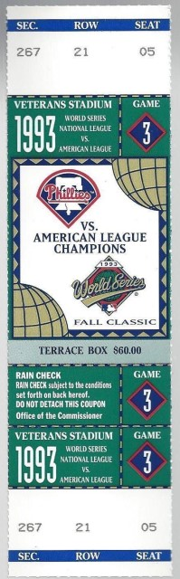 1993 World Series Game 3 ticket Blue Jays at Phillies