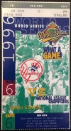 1996 World Series Game 6 ticket Braves at Yankees