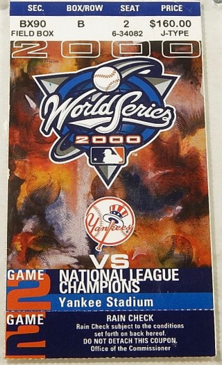 2000 World Series Game 2 ticket Mets at Yankees