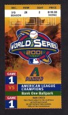 2001 World Series Game 1 ticket Yankees at Diamondbacks