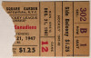 1947 NHL Canadiens at Rangers ticket stub