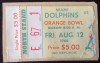 1966 NFL Miami Dolphins 1st Home Game Ticket Stub Inaugural Season