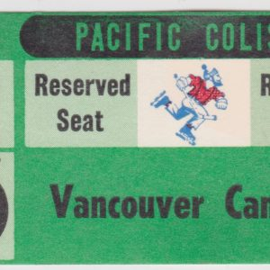 1970 WHL Vancouver Canucks ticket stub vs Portland for sale