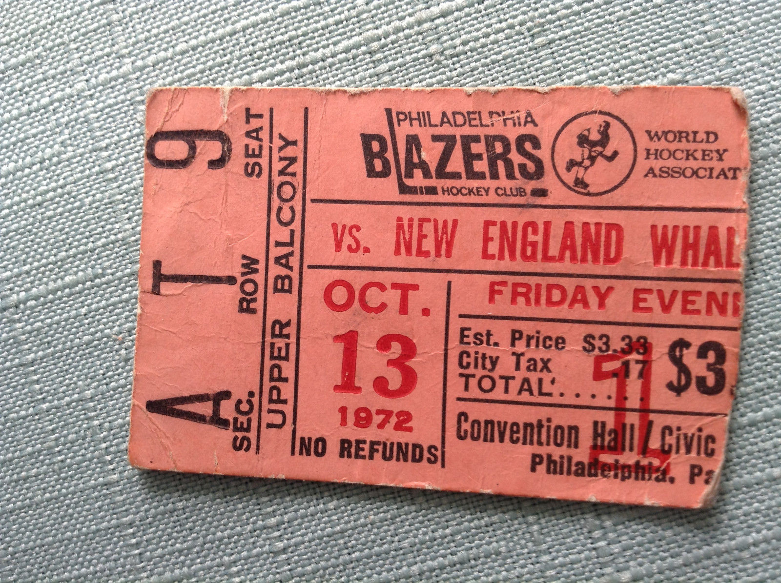 1972 WHA Whalers at Blazers ticket stub