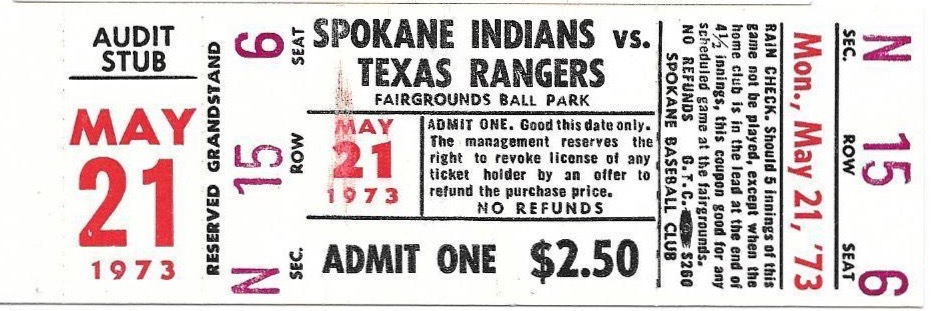 1973 MiLB PCL Texas Rangers at Spokane Indians ticket stub