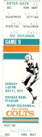 1973 Miami Dolphins ticket stub vs Colts
