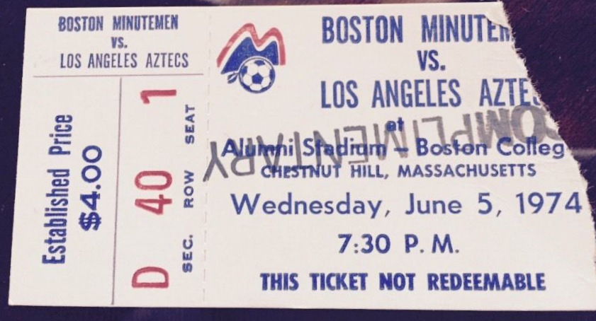 1974 NASL Los Angeles Aztecs at Boston Minutemen ticket stub